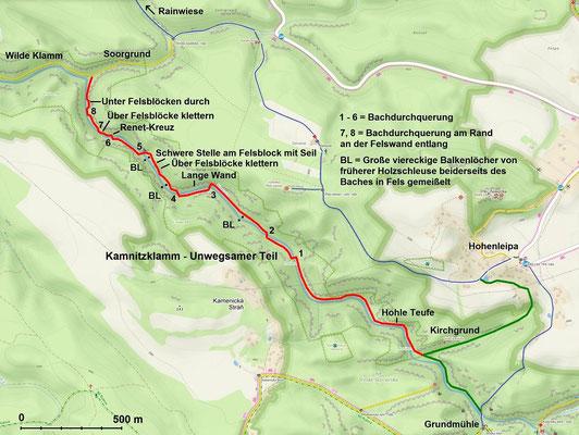 Kamnitzklamm Unwegsamer Teil; Quelle: mapy.cz