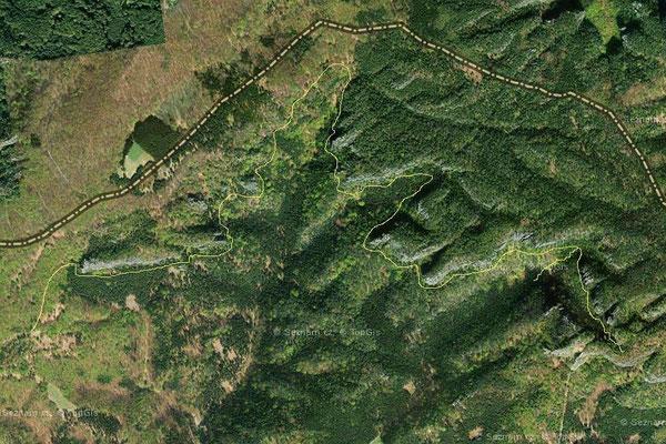 Silberwandsteig Satellitenkarte, Quelle Mapy.cz