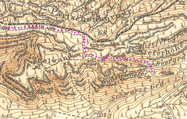 Der östliche Teil des originalen Entenpfützenweges über die Flügelwände und Abstieg durchs Beergründel, Meßtischblatt 1912