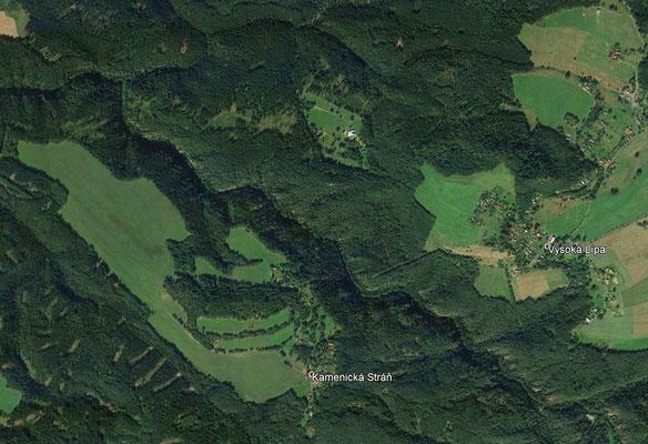 Unwegsame Klamm auf der Satellitenkarte von Google Earth