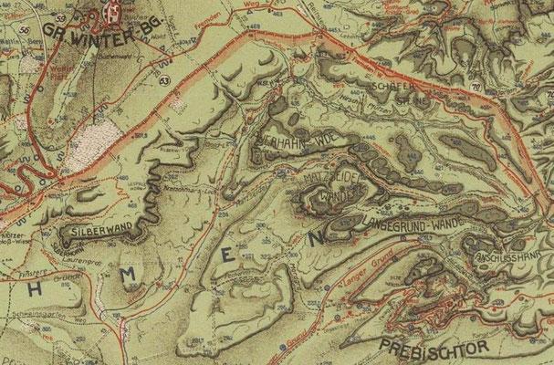 Silberwandsteig, Karte von Johannes Schulz 1928