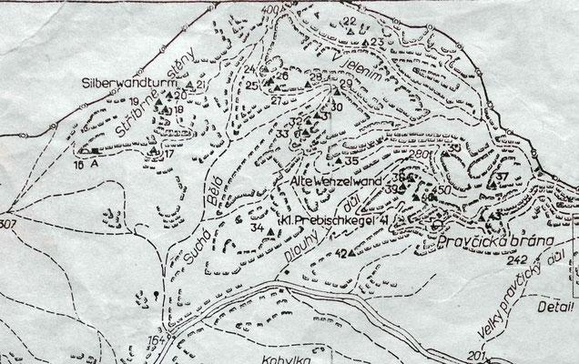 Silberwandsteig, Karte Kletterführer Böhmische Schweiz 1979