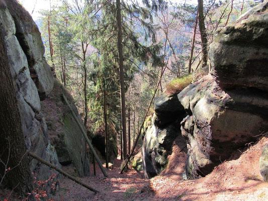 Steiler Aufstieg aufs Lange Horn in der Südwestseite