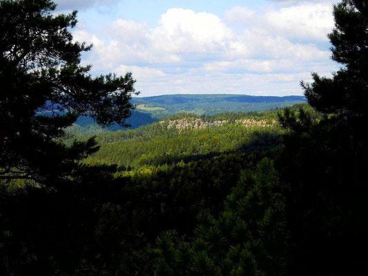 Blick zu den Falkenwänden nordwestlich der Käs und Brot - Aussicht