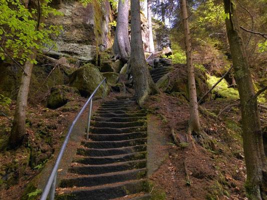 Treppe zur Kirnitzsch runter