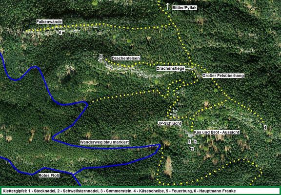 Satellitenkarte mit Käse und Brot-Aussicht und Umgebung - Mapy.cz