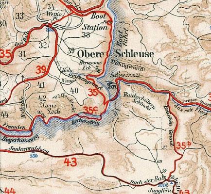 Meinholds Routenführer 1925. Die Route Nr. 35 b zur Balzhütte führt durch den Brückengrund.