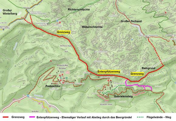 Grenzweg und Entenpfützenweg, Quelle Mapy.cz