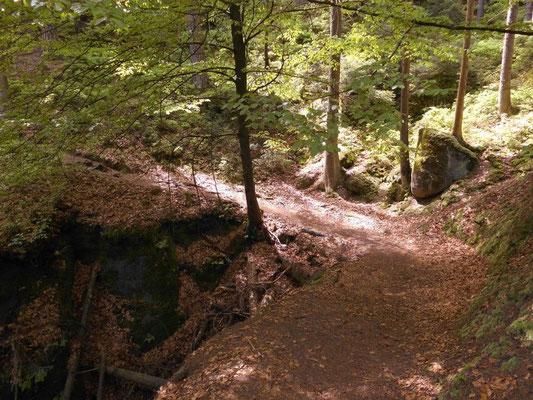 Wegkurve mit Abzweig links runter zum Kerbensteig und ehemaliger Schönlinder Brücke