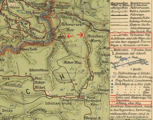 Karte von Johannes Schulz 1912. Links die Variante von vor 1910, rechts die Route durch den Brückengrund.