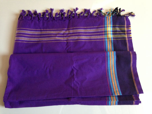 2. typical Ugandan scarf, 165 cm x 105 cm, purple with darker purple borders, cotton, 30,-CHF