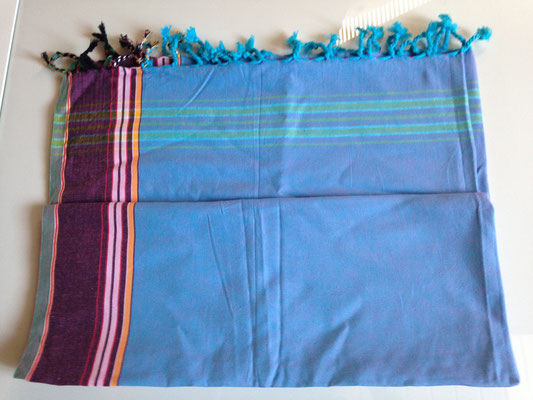 1. typical Ugandan scarf, 165 cm x 105 cm, light blue with purple borders, cotton, 30,-CHF
