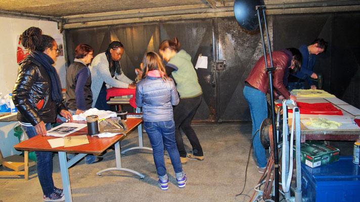 Atelier Sérigraphie et fabrication de mailloches avec l'Atelier Solidaire - Novembre 2015 -  © Association Zé Samba