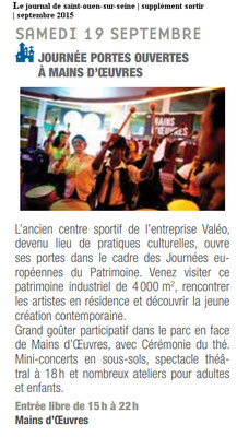Le Journal de Saint-Ouen sur Seine - Supplément Sortir - Septembre 2015