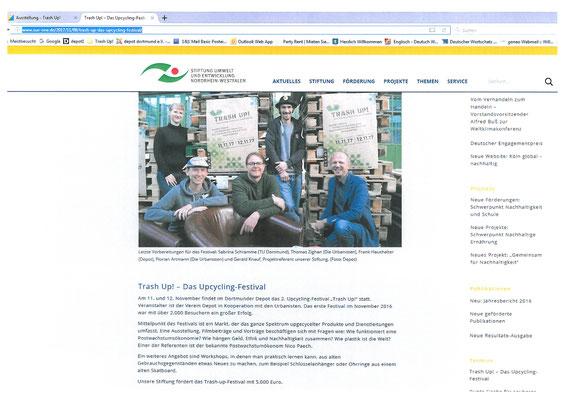 Presseartikel online_8.11.2017. Stiftung Umwelt und Entwicklung NRW. Förderer von Trash Up! in 2016 und 2017