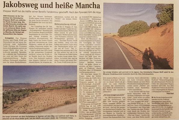 """Quelle: Rhein-Zeitung - Westerwald - Sieg vom 31.07.2010 """"Jakobsweg und heiße Mancha"""""""