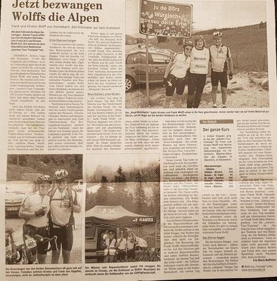 """Quelle: Rhein-Zeitung Westerwald-Sieg vom 06.09.2008 Nr. 209 S. 22 """"Jetzt bezwangen Wolffs die Alpen"""""""