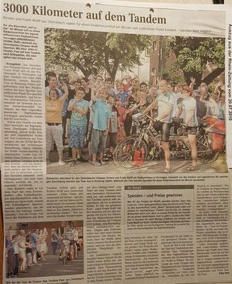 """Quelle: Rhein-Zeitung - Westerwald -Sieg vom 20.07.2010 """"3000 Kilometer auf dem Tandem"""""""