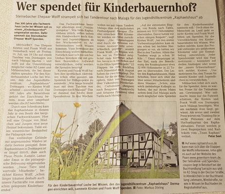 """Quelle: Rhein-Zeitung - Westerwald - Sieg vom 19.06.2010 """"Wer spendet für Kinderbauernhof?"""""""