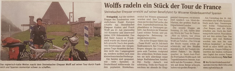 """Quelle: Rhein-Zeitung - Westerwald -Sieg vom 29.07.2010 """"Wolffs radeln ein Stück der Tour de France"""""""