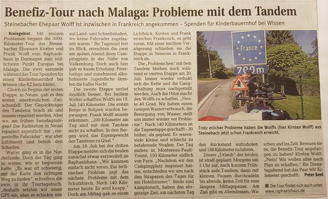 """Quelle: Rhein-Zeitung - Westerwald - Sieg vom 22.07.2010 """"Benefiz-Tour nach Malaga: Probleme mit dem Tandem"""""""