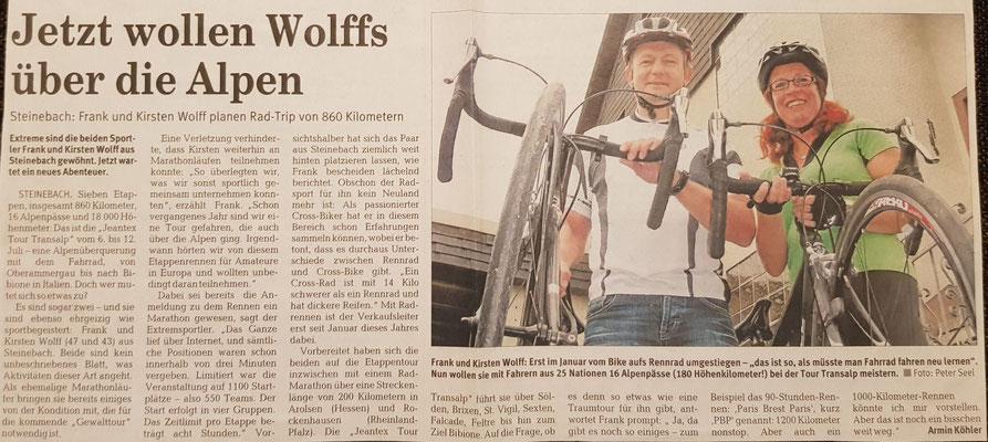 """Quelle: Rhein-Zeitung Westerwald-Sieg vom 14.06.2008 Nr. 137 S. 25 """"Jetzt wollen Wolffs über die Alpen"""""""