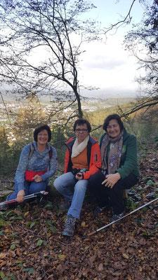 """""""Dreigestirn"""", fröhliche Gruppe der Gesundheitwanderung oberhalb von Scheuerfeld"""