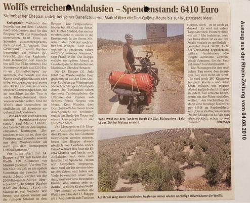 """Quelle: Rhein-Zeitung - Westerwald - Sieg vom 04.08.2010 """"Wolffs erreichen Andalusien -Spendenstand: 6410 Euro"""""""