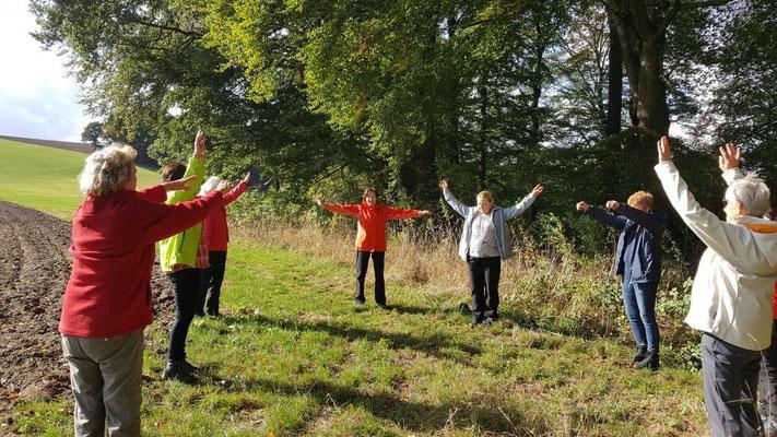 Übungen der Gesundheitswandergruppe bei herrlichem Sonnenschein
