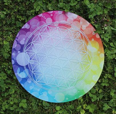 """Schneidebrett/Tortenplatte aus Glas, mit eigenem Design """"Blume des Lebens"""" bedruckt, Durchmesser ca. 30 cm;  € 30,- zuzügl. Versand und Verpackung"""
