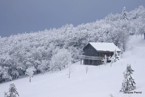 Chalet sous la neige.  ( route des crêtes Hautes Vosges )