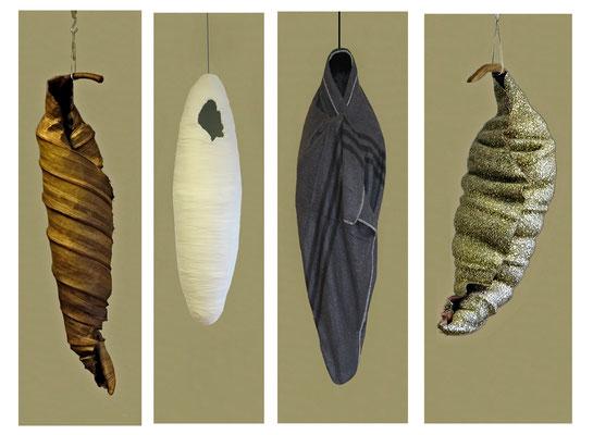In der Luft hängen, 2014 - 16. Draht, Gips, Papier, Stoff, Mullbinden, ungefähr Lebensgröße.