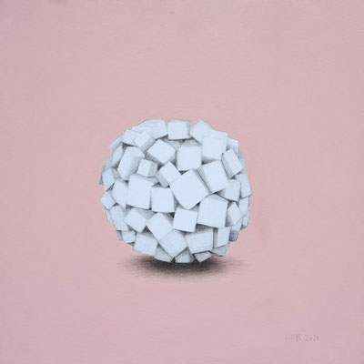 Ohne Titel, 2021. Acrylfarbe und Bleistift auf Papier auf Holz, 40 x 40 cm.