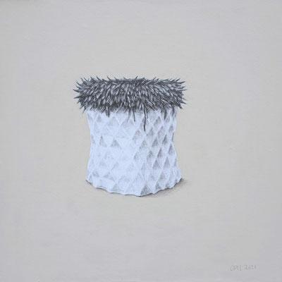 Rebroff, 2021. Acrylfarbe und Bleistift auf Papier auf Holz, 40 x 40 cm.