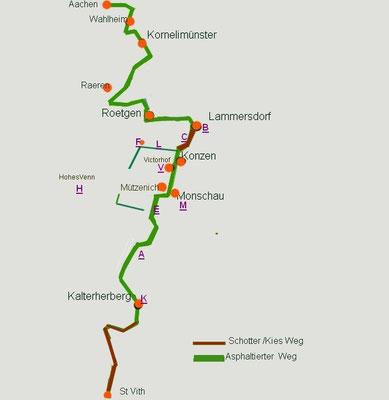 Karte Fahrradstrecke Vennbahn