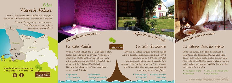 Flyer pour les Gîtes Pierre et Nature en Normandie - Vue sur le Mont-Saint-Michel