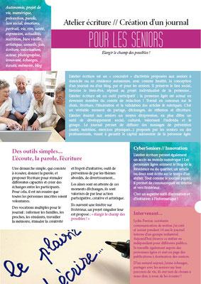 Atelier écriture // Création journal par et pour les seniors