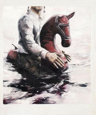 Seepferdchen freihändig I, 2015, Öl auf Leinwand, 60 x 50 cm