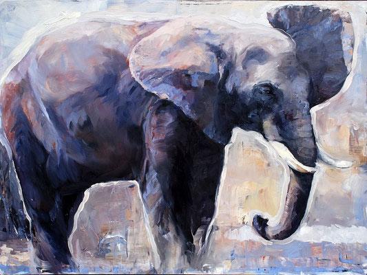 Elefant II, 2017, Öl auf MDF, 70 x 95 cm,