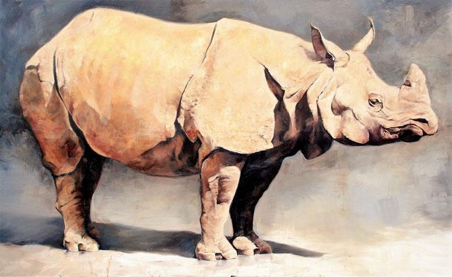 Rhino I, 2020, Öl auf leinwand, 110 x 180 cm
