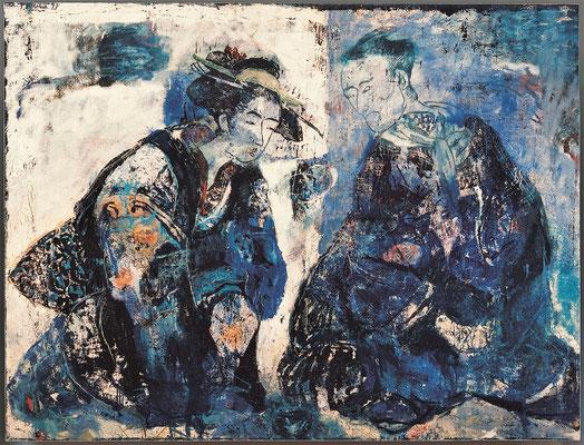 Japanisches Paar, nach Toyokuni, 1998, Holzschnitt /Öl auf Leinwand, 120 x 160 cm