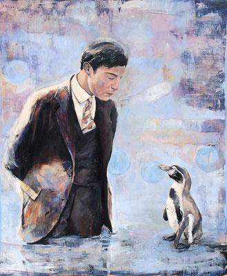 Pinguin zuhören, 2011, Öl auf Leinwand, 120 x 100 cm