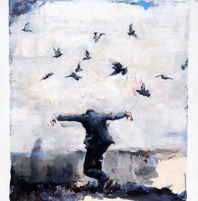 Birdy, 2017, Öl auf MDF, 70 x 70 cm