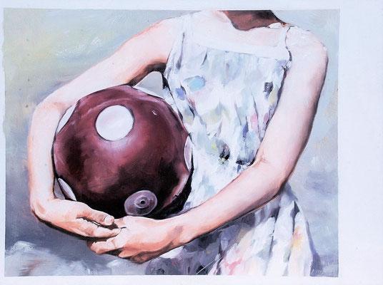 Ball ance, 2020, Öl auf Holz, 32,8 x 43,9 cm