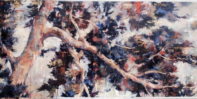 Pinie I, 2019, Öl auf Leinwand, 80 x 160 cm