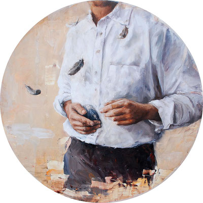 Haben und Sein, 2014, Öl auf MDF, 67 cm