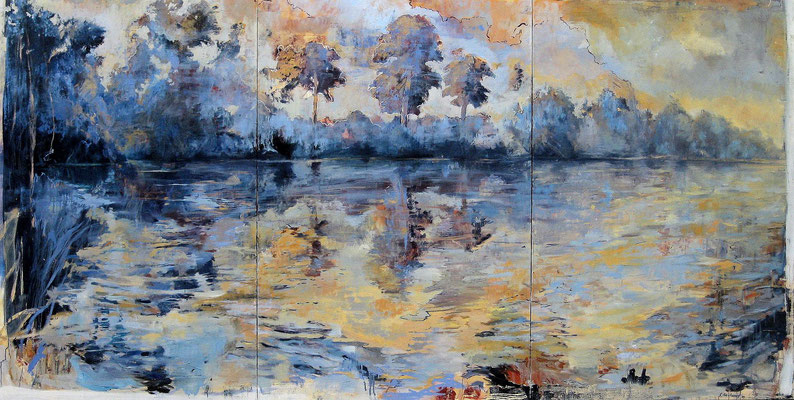 Große Landschaft, 2009, Öl auf Leinwand, Tryptichon, 170 x 330 cm