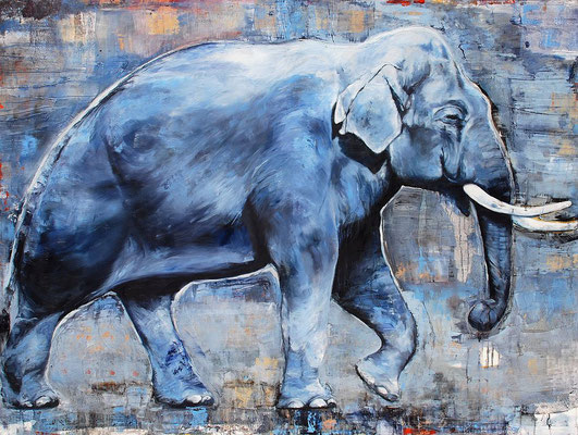 Der Elefant (Hommage), 2017, Öl auf Leinwand, 120 x 160 cm