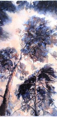Pinienhimmel, 2019, Öl auf Leinwand, 160 x 80 cm