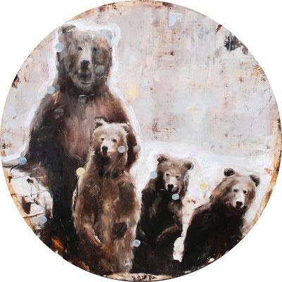 Bärenbrüder, 2016, Öl auf MDF, 67cm,